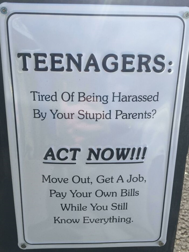 Funny Signs teenagers