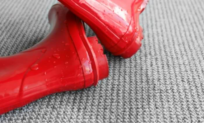 wet rainboots on carpet