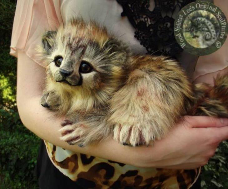 Cute Baby Animal Sculptures, golden cheetah cub