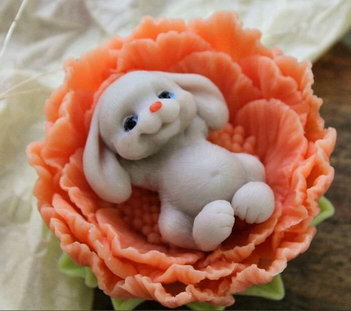 bunny soap sculpture