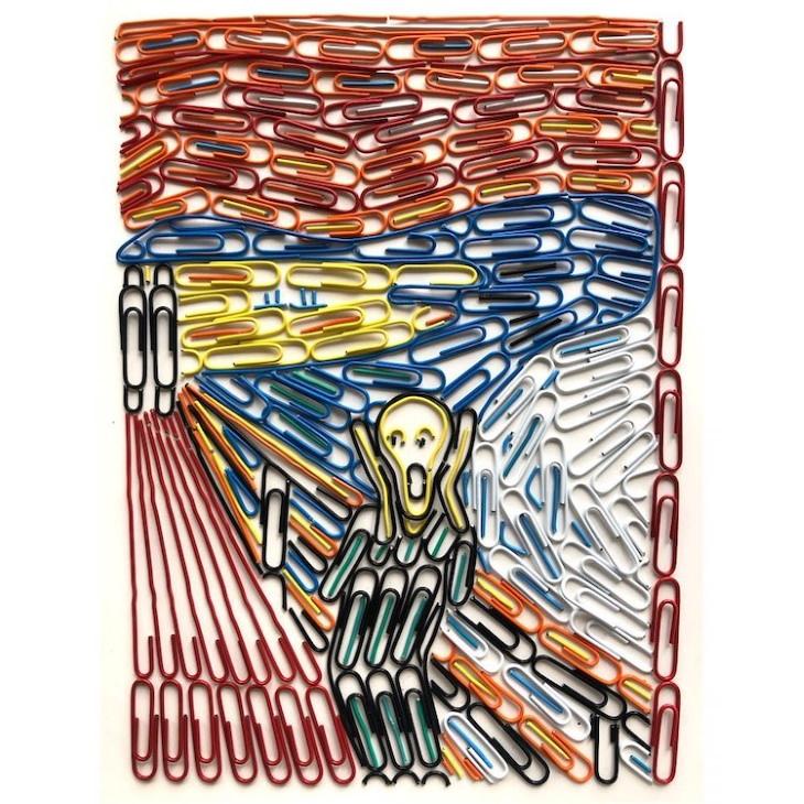 Adam Hillman The Scream by Munch arrangedin paperclips
