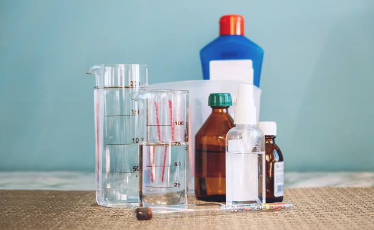 chemicals in containers