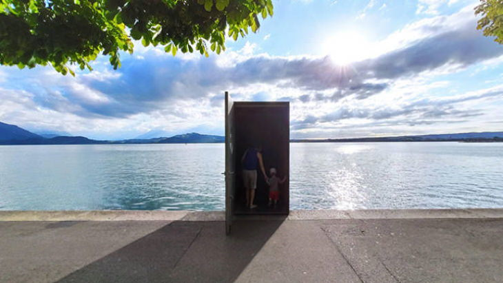 Optical Illusions entrance to underwater observatory at Lake Zug in Switzerland
