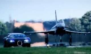 Bugatti Veyron and Euro Fighter Square Off