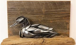 These Superb Metal Sculptures Are Made of Old Cutlery