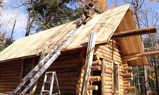 Timelapse of a Log Cabin Being Built by One Man
