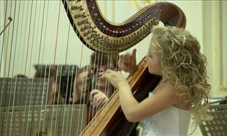 This Girl Plays the Harp So Beautifully.