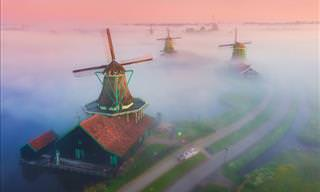 Fantastic Photos of Dutch Windmills in Fog