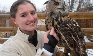Young Lady Handles Massive Birds of Prey