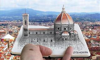 Drawings Blended with Photos by Pietro Catudella