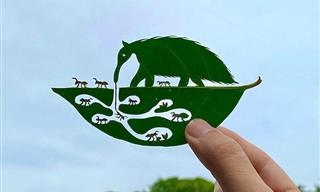 These Tiny Scenes Depicted on Leaves Are So Precious!