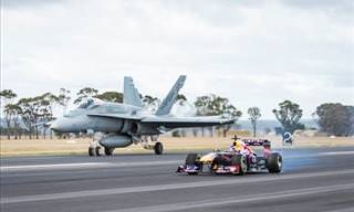 F/18 Hornet Races Red Bull F1 Car
