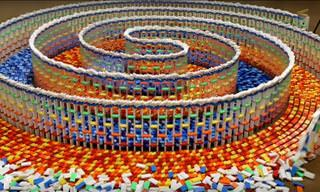 15,000 Dominoes Fall in a Stunning Triple Spiral