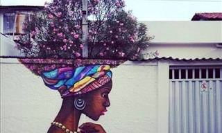 Street Art That Complements Plants and Flowers