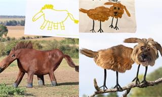 Hilarious! Dad Transforms Kid's Artworks Into Real Animals