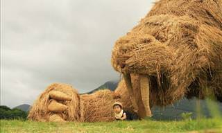 Rice Straw Is Used to Create These Sculptures...