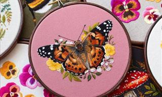 12 Magical Embroideries of Cute Butterflies and Bumblebees