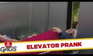 Caught In The Elevator Door - Funny Prank!