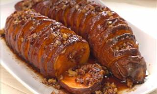 Hasselback Maple Pecan Sweet Potato