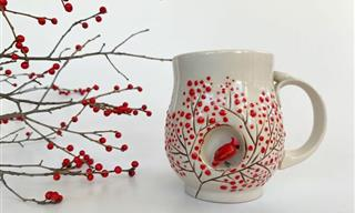 Beautiful Hand-Made Cup with Sculptures