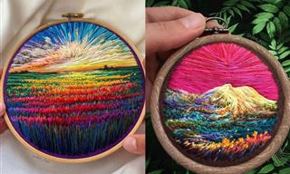 12 Vibrant Natural Landscapes Made with Thread and Needle