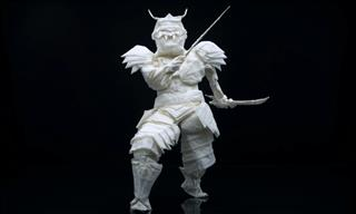 Samurai Origami Folded From Just a Single Piece of Paper