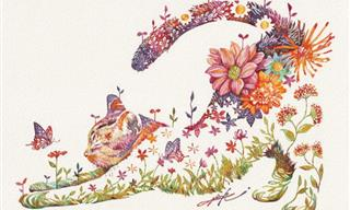 20 Charming Animal Paintings Composed of Colorful Flowers
