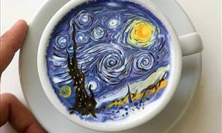Amazing Recreations of Famous Paintings and Cartoons... on Coffee!