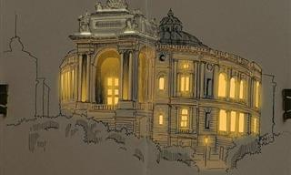 Artist Creates Glowing Realistic Sketches of Architecture