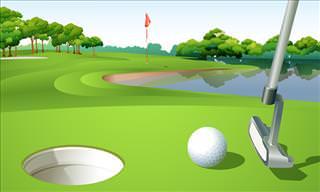 Three Gentlemen Play a Round of Golf