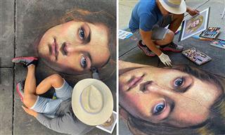 Artist Draws Incredible Chalk Portraits On the Pavement