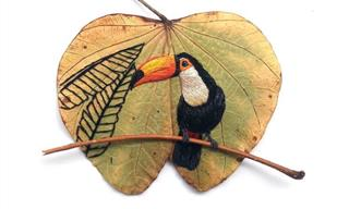 Golden Leaves Embellished With Portraits of Exotic Birds