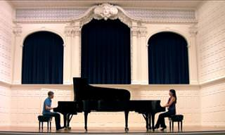 Watch Two Pianists Play Mozart's Allegro con Spirito