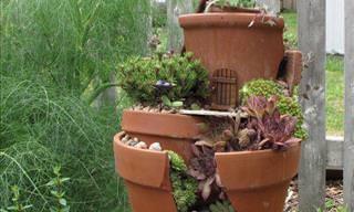 DIY: Turn Your Broken Pots Into Miniature Gardens