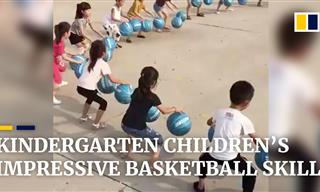 Amazing! Kindergarten Kids Dribbling Basketballs in Tandem