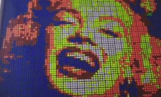 Tricolor Portraits Made of Rubik's Cubes