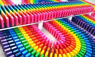 Stunning Rainbow Dominoes Arrangement From Finnish Artist