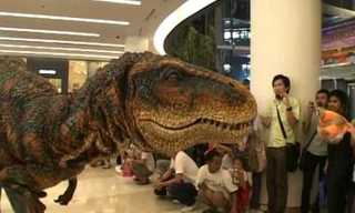 When a Dinosaur Visits the Mall -  Fun!
